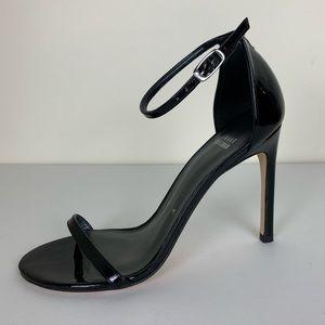 Stuart Weitzman Nudistsong Black Patent Sandal 8